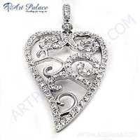 Designer Leaf  Cubic Zirconia Gemstone Silver Pendant