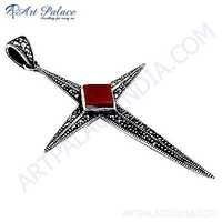 Trendy Cross Gemstone Silver Pendant With Red Coral