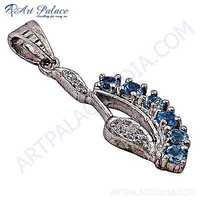 Antique Style Blue Topaz Gemstone Silver Pendant