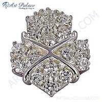 Sparkling Cubic Zirconia Gemstone Silver Pendant