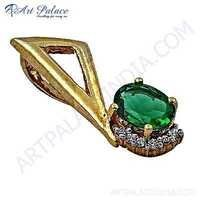 Unique Style Cubic Zirconia & Green Aventurine Gold Plated Gemstone Silver Pendant