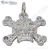 Skrull Style Plain 925 Sterling Silver Pendant