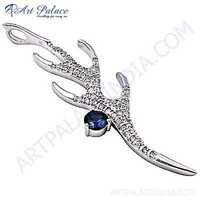 Fantastic Fashionable Cubic Zirconia & Iolite Gemstone Silver Pendant