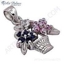 Flowers Basket Style Multi Stone Silver Pendant