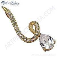 Fashion Accessories Cubic Zirconia Gold Plated Silver Pendant