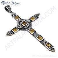 Trendy Cross Citrine Gemstone Silver Pendant
