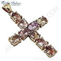 Cross Style Citrine & Pink Cubic Zirconia Gold Plated Silver Pendant
