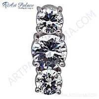 Graceful Cubic Zirconia Gemstone Silver Pendant