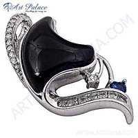 Rocking Heart Style Multi Gemstone Silver Pendant