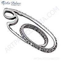 Latest Fashionable Silver Pendant With Cubic Zirconia