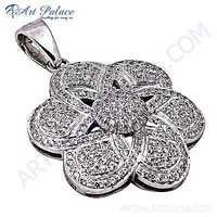 Graceful Flower Cubic Zirconia Gemstone Silver Pendant