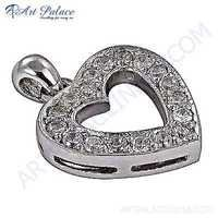 Attention Lover Heart Silver Pendant With Cubic Zirconia