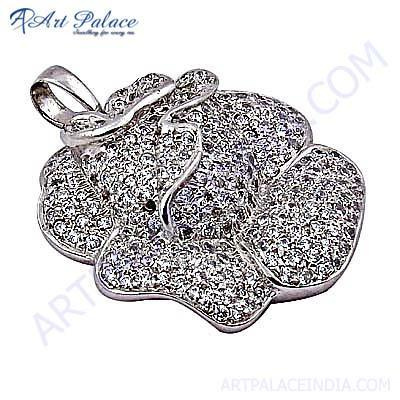 Rose Style Cubic Zirconia Sterling Silver Pendant