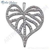 Classic Cubic Zirconia Leaf Style Silver Pendant