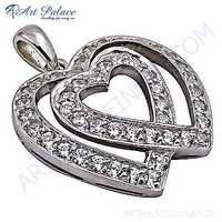 Double Heart Style Cubic Zirconia Silver Pendant