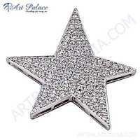 Rocking !! Star Style Cubic Zirconia Silver Pendant
