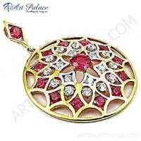 Exclusive Cubic Zirconia Gold Plated Silver Pendant