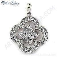 Indian Touch Cubic Zirconia Gemstone Silver Pendant