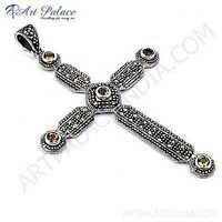 Ethnic Designer Citrine Gemstone Sterling Silver Cross Pendant