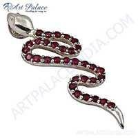 Snake Style Pink Cubic Zirconia Silver Pendant