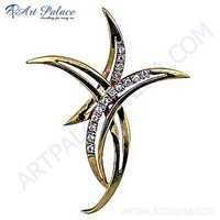 New Fashionable Cubic Zirconia Gold Plated Silver Pendant