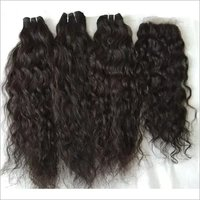 Natural Curly Human Hair And Closure 4x4, Transparent Lace