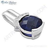 Famous Design Blue Glass Gemstone Silver Pendant
