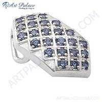 Lastest Luxury Blue Glass Gemstone Silver Pendant