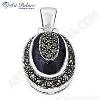 Victorian Designer Synthetic Gemstone Silver Pendant