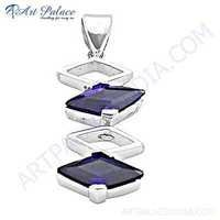 New Fashionable Amethyst Gemstone Silver Pendant