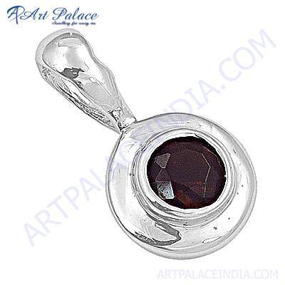 Celeb Style Garnet Gemstone Sterling Silver Pendant