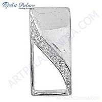 Elegant Cubic Zirconia Gemstone Silver Pendant