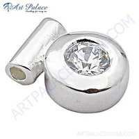 Delicate Cubic Zirconia Gemstone Sterling Silver Pendant