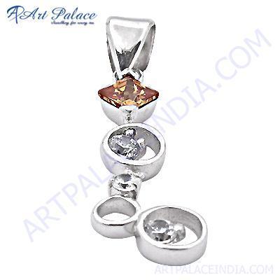 Rady To Wear Cubic Zirconia & Glass Gemstone SIlver Pendant