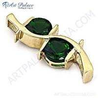Fashionable Green Glass Gold Plated Silver Pendant
