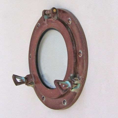 NAUTICAL ALUMINUM PORTHOLE GLASS ANTIQUE 9
