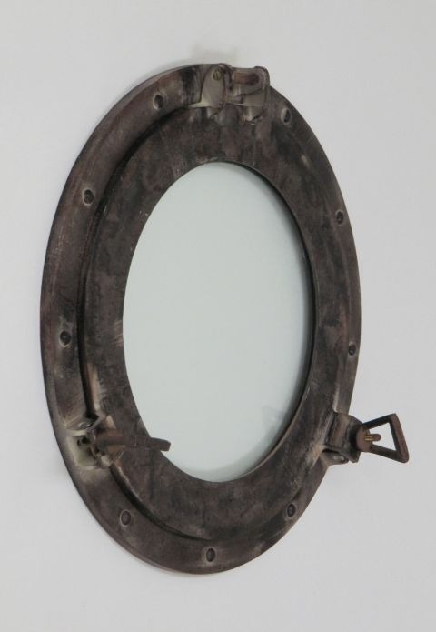 NAUTICAL ALUMINIUM  PORTHOLE MIRROR ANTIQUE 15