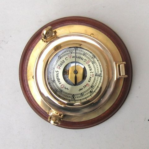 NAUTICAL BRASS BAROMETER PORTHOLE 7
