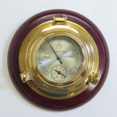 NAUTICAL BRASS PORTHOLE BAROMETER  WOODEN BASE 7
