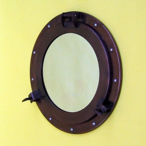 NAUTICAL IRON PORTHOLE MIRROR ANTIQUE FINISHED 15