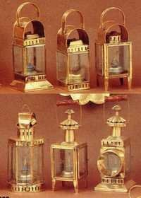 NAUTICAL BRASS CABIN LANTERN GLASS OIL LAMP SET 9