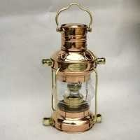 NAUTICAL BRASS AND COPPER SHIP LIGHT ANCHOR LAMP WITH OIL LAMP 15