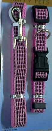 022013 Dogs Lead & Collar ( Pink Color)