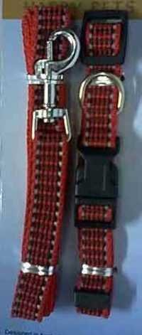 022013 Dogs Lead & Collar ( Red Color)