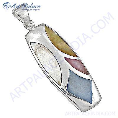 Fabulous Meena Gemstone Sterling Silver Pendant