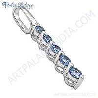 Sensational Blue Topaz Sterling Silver Pendant