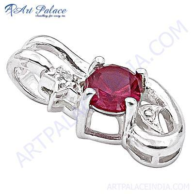 Loving Pink Cubic Zirconia Antique Style Silver Pendant