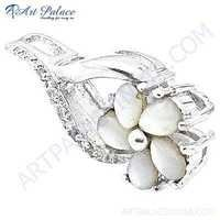 Antique Flower Cubic Zirconia & Mabe Pearl Gemstone Silver Pendant