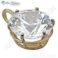 Classy Cubic Zirconia Gemstone Silver Pendant