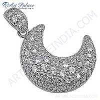 Half Moon Style Cubic Zirconia Silver Pendant
